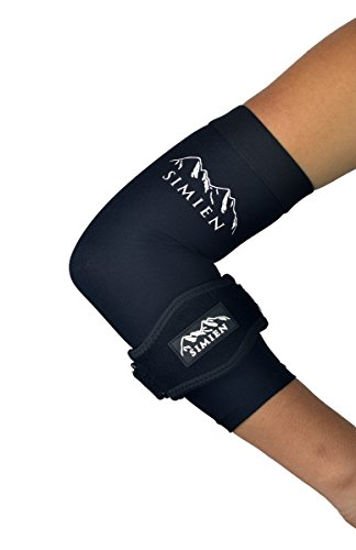 SIMIEN Elbow Brace + Sleeve Compression Combo (1-Count Each) - Large - Reduces Inflammation for Tennis Elbow, Golfer's Elbow, Tendonitis Pain - 88% Copper Sleeve - E-Book