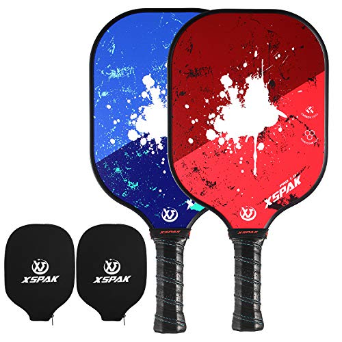 XS XSPAK Pickleball Paddles Sets of 2 - Lightweight Pickleball Paddle Set Including Cover,Carbon Face and Polymer Honeycomb Core,Lightweight Pickleball Racket,Anti-Slip Sweat-Absorbing Grip