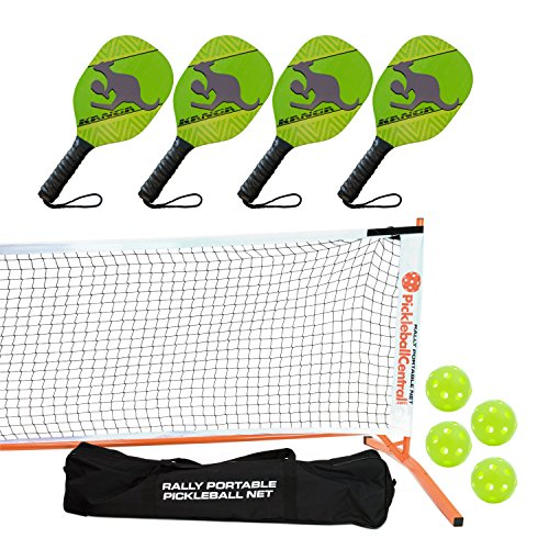 Kanga Pickleball Paddle, Portable Net and Ball Set (Includes Metal Frame + Net + 4 Kanga Wood Paddles + 4 Balls + Rules Sheet in Carry Bag)